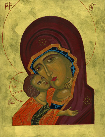 Mary and baby Jesus Icon by Rose Lukjanenko